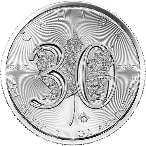 1 oz Canadian Silver Maple Leaf 30th Anniversary 2018 BU