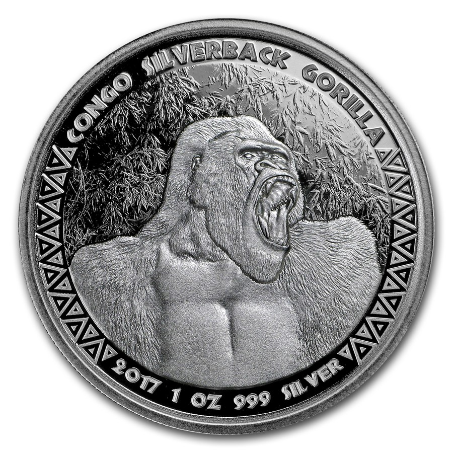 JUST ARRIVED: 1 OZ SILVER RPC SILVERBACK GORILLA BU 2017 (Coin 3 in sereis)